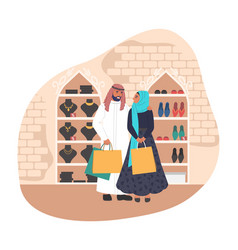happy muslim couple shopping in women store flat vector image
