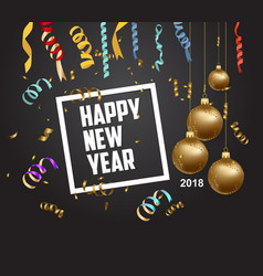 happy new year 2018 with gold balls - modern vector image