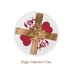 happy valentines day card with red and rose hearts vector image