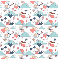 happy valentines day seamless pattern boy girl vector image