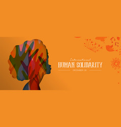 Human solidarity day card with afro woman profile vector