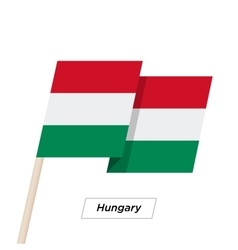 Hungary Ribbon Waving Flag Isolated on White vector image