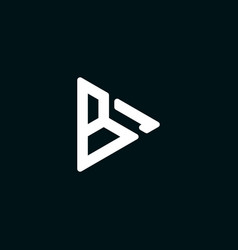 initial letter b logo template with play button vector image