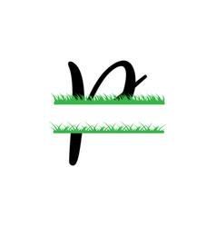 initial p grass monogram split letter isolated vector image