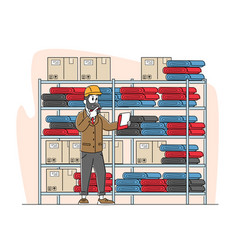 Inventory manager male character work in warehouse vector