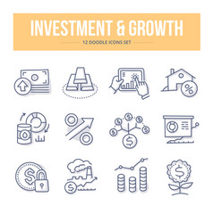 Investment growth doodle icons vector