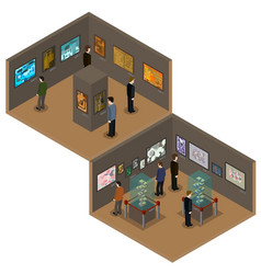 isometric low poly museum or art gallery vector image