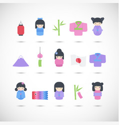 Japan flat icon set vector