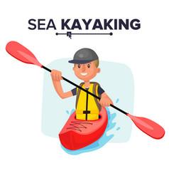kayaking man rafting vest jacket paddle vector image