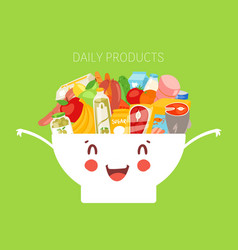 Kids daily menu products in cute bowl meal for vector