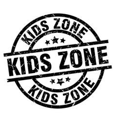 Kids zone round grunge black stamp vector
