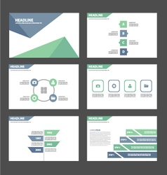 Light Blue green presentation templates set vector