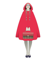 Little red riding hood braids hairstyle holding a vector