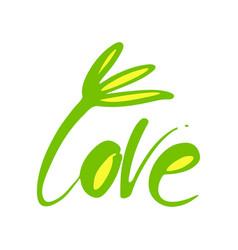 Love flower lettering template vector