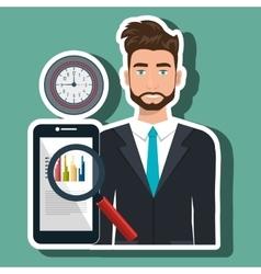 Man search smartphone watch vector