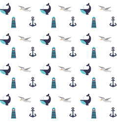 Maritime icons pattern background vector