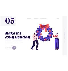 Merry christmas winter holidays website landing vector