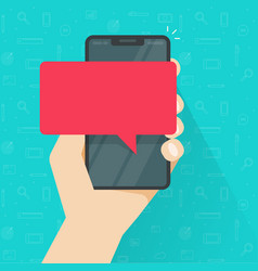 message alert on mobile phone or empty bubble vector image