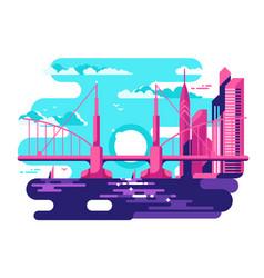 Modern urban bridge design flat vector