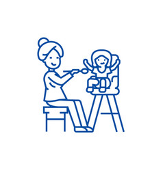 mother feeding child line icon concept mother vector image