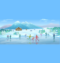 mountain winter recreation template vector image