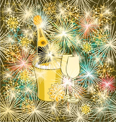 New Year colorful fireworks and champagne vector image
