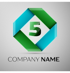 Number five logo symbol in the colorful rhombus vector image