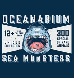 Oceanarium advertising horizontal template vector