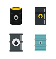 oil barrel icon set flat style vector image