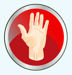 palm of the person on button vector image