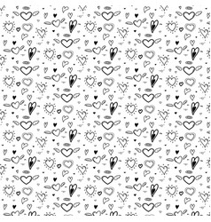 pattern with abstract hand drawn cute heart vector image