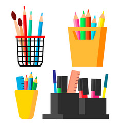 pen stand set brush pencil paint brush vector image