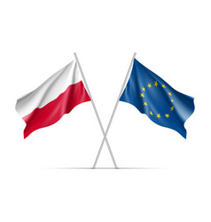 Poland and european union waving flags vector