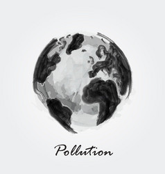 Pollution world watercolor painting design vector