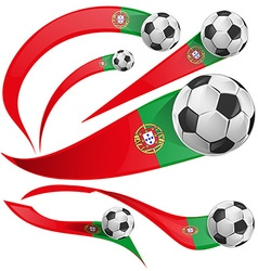 Portugal flag set with soccer ball vector
