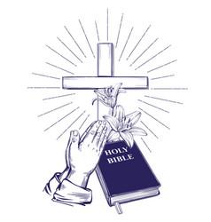 praying hands bible gospel crown thorns vector image