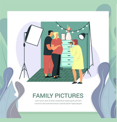pregnant woman and husband at photoshoot family vector image