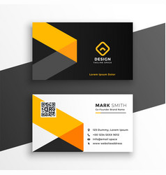 professiona yellow business card modern template vector image