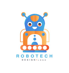Robotech logo design badge with robot for company vector