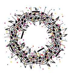 Round colorful background of music notes vector