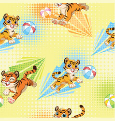 Seamless pattern with cute tigers and balls vector