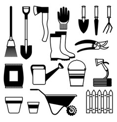 seamless pattern with garden tools and icons all vector image