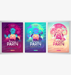 Set colorful summer disco party posters vector