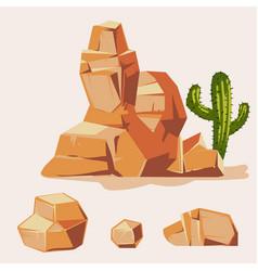 Set desert rocks cartoon isometric 3d flat vector
