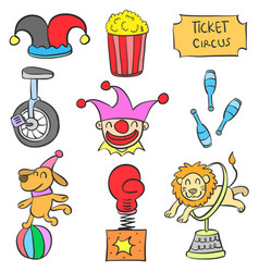 Set of circus object doodles vector