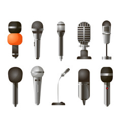 set of different types of microphones in realistic vector image