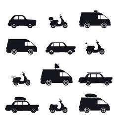 silhouette car and minibus scooter and auto vector image