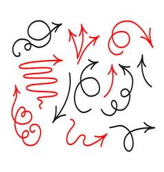 sketch arrow icon collection in doodle cartoon vector image