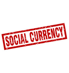 square grunge red social currency stamp vector image