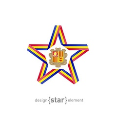 star with Andorra flag colors and symbols design vector image